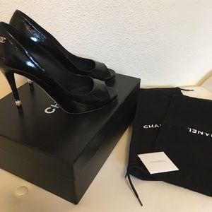 Chanel open toe pump 39